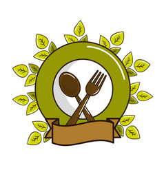 spoon fork and plate with leaves and ribbon vector image