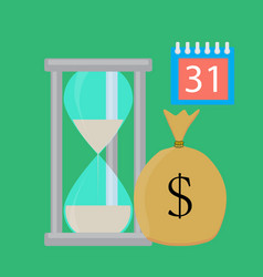 time for salary concept flat vector image vector image