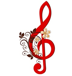 treble clef with a flower pattern vector image vector image