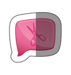 color sticker with scissors icon in square speech vector image