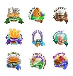 Fastfood Cartoon Colorful Emblems Set vector image