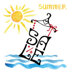 summer sale letteringshirtwatercolor sunsea vector image