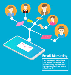 business team concept smartphone sending email vector image