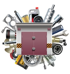 Garage with Car Spares vector image vector image