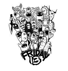 Hand drawn Friday 13 grunge vector image