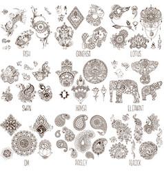 oriental decorative symbols vector image