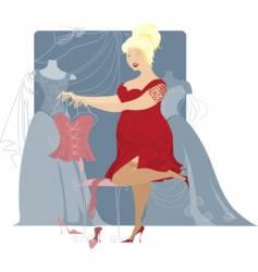 plius size lady choosing dress vector image