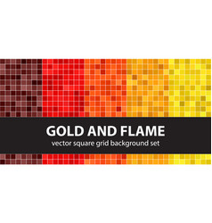 Square pattern set gold and flame seamless vector
