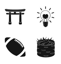 torii light bulb and other web icon in black vector image vector image