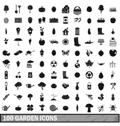100 garden icons set simple style vector