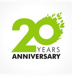20 anniversary leaves logo vector
