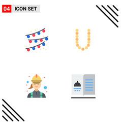 4 universal flat icon signs symbols buntings vector