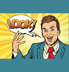 Active joyful speaker businessman look vector