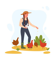 agriculture farm worker feeding chicken hen vector image