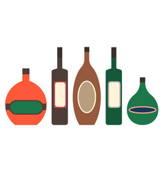alcoholic beverages in bottles with labels set vector image
