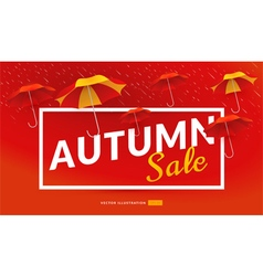 Autumn sale poster template with umbrellas vector