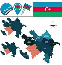 Azerbaijan with named divisions vector