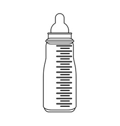 baby bottle symbol in black and white vector image