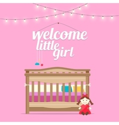 Baby girl room with bed and words vector