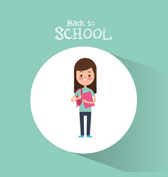 Back to school cute student girl book ready study vector
