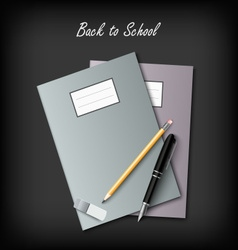 Back to School with workbooks and supplies vector