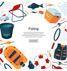 background fishing equipment vector image