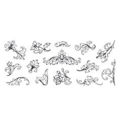 Baroque ornament vintage floral border elements vector