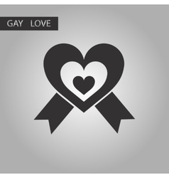 Black and white style icon gays heart vector