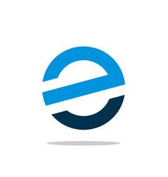 blue circle e letter logo template vector image