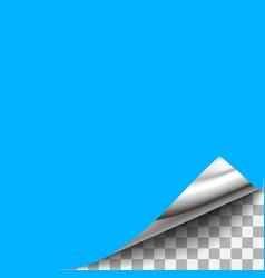Blue curled paper corner with transparent vector