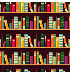 bookshelf seamless pattern with books vector image
