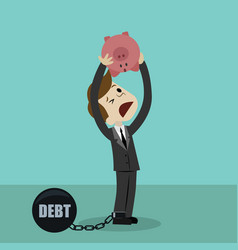 businessman or manager is shaking out empty piggy vector image