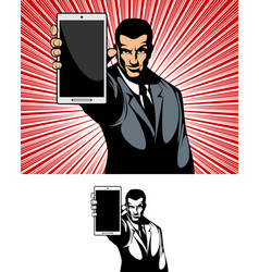 businessman showing the gadget vector image