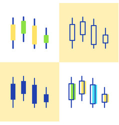 candlestick chart icon set in flat and line style vector image