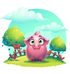 Cartoon big pig on a on the lawn background vector