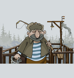 Cartoon man fisherman standing on the village pier vector
