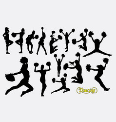 Cheerleader sport girl jumping silhouette vector