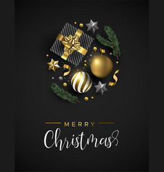 christmas card of gift and gold xmas ornaments vector image