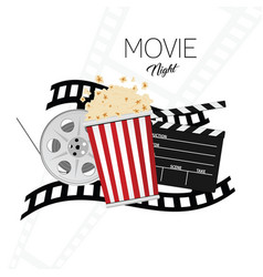Cinema and movie night background two vector
