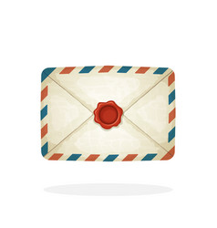 closed vintage mail envelope with red wax seal vector image