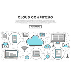 Cloud computing linear style infographics vector