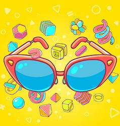 Colorful of red sunglasses on yellow backgro vector