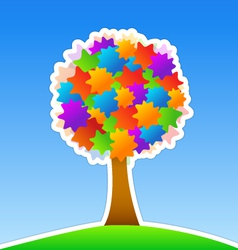 colorful tree on green meadow vector image