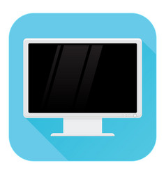 computer lcd monitor flat design blue square vector image