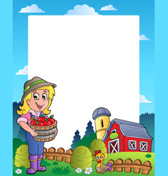 Country scene with red barn 6 vector