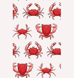 Crabs pattern red seamless seafood repetition vector