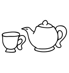 Cute afternoon tea teapot and cup clipart hand vector