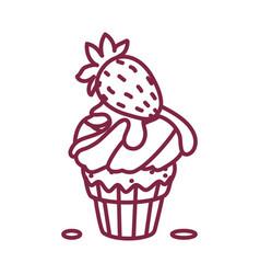 Cute cupcake sweets art vector