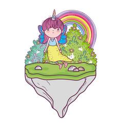 Cute little fairy with unicorn horns character vector