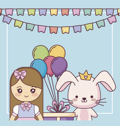 cute rabbit with little girl happy birthday card vector image